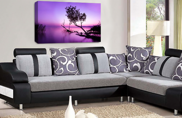 Landscape Wall Art Purple White Grey Seascape Picture Print